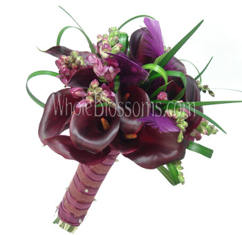 Chocolate Nosegay and Posy Mini Calla Bridal Bouquet