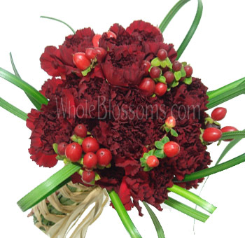 Red Posy Carnation Bridal Bouquet