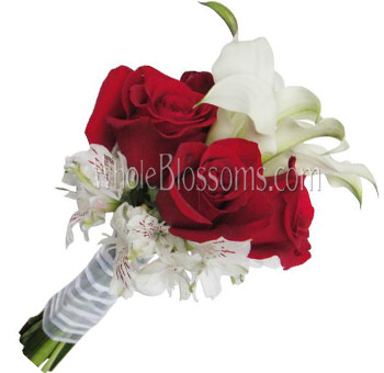 White Red Rose Calla Nosegay Bridal Bouquet