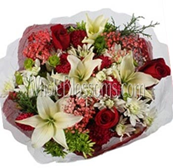 White Lily Red Rose Flower Centerpiece