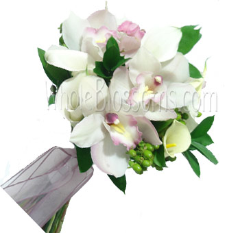 White Hand-Tied Orchid Bridal Bouquet