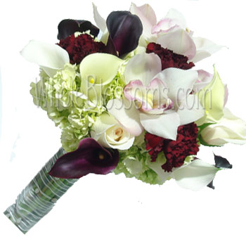 White Purple Nosegay Bridal Bouquet