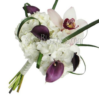 White Nosegay Orchid Hydrangea Bridal Bouquet