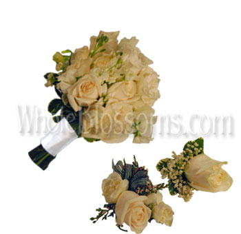 Off White Rose Wedding Flowers Package