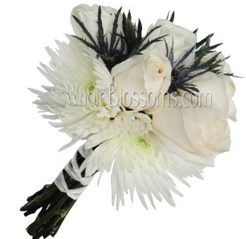 White Nosegay Rose Spider Bridal Bouquet