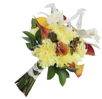 Yellow Nosegay Carnation Orchid Bridal Bouquet
