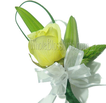 Yellow Rose Pin Corsage Flower