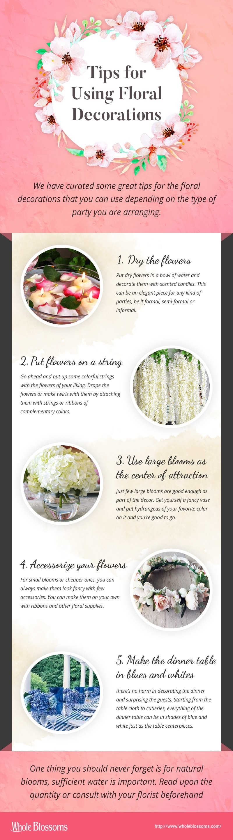 Tips for using floral decorations at your party