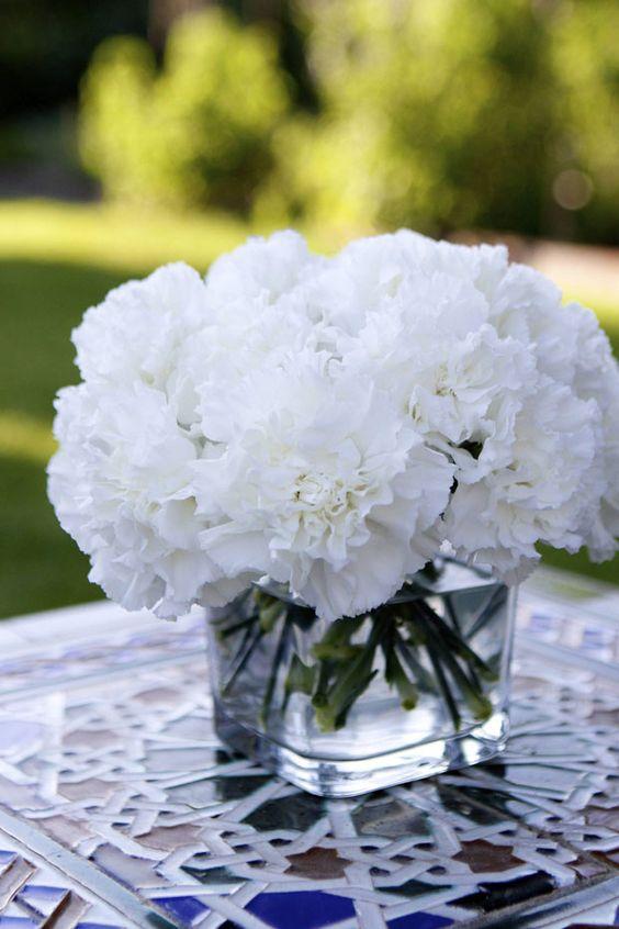 White Carnation Table Arrangements