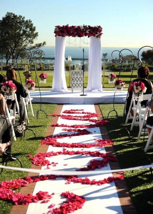 Fresh rose petals on wedding