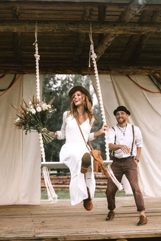 Happy couple on Boho Weddings