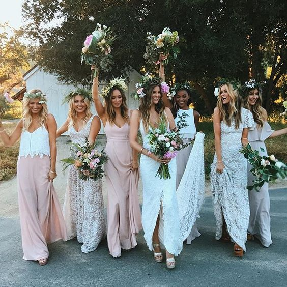 Bohemian style for bride and bridesmaids