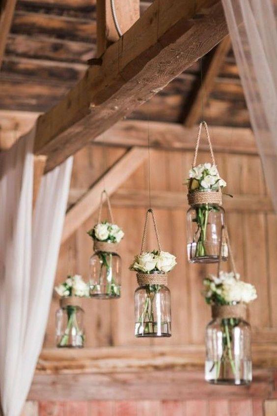 Hanging Mason Jars for DIY Wedding