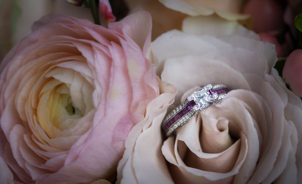 wedding ring with cut flowers