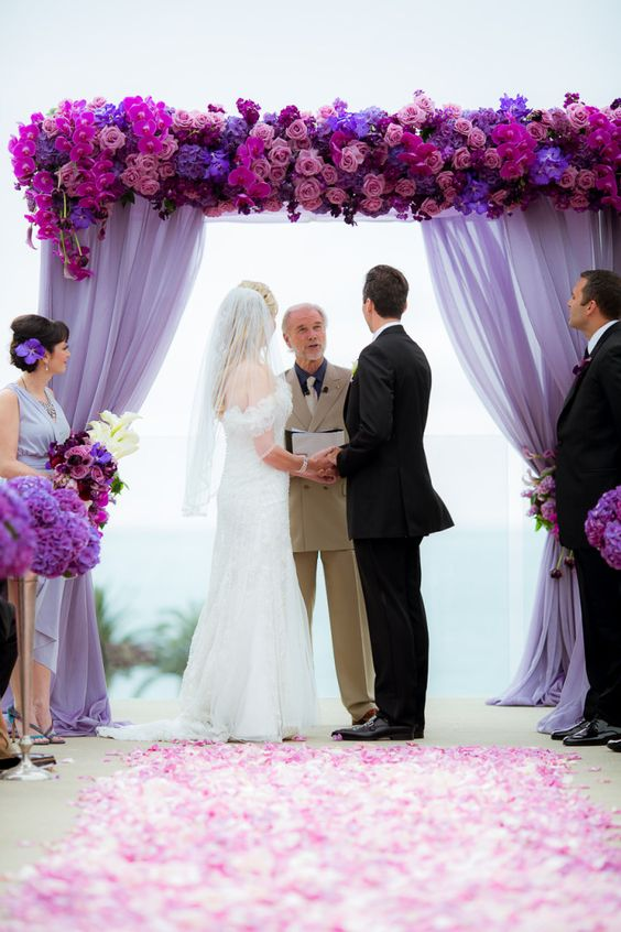 Fall Wedding Entrance with Rich Purple Shades