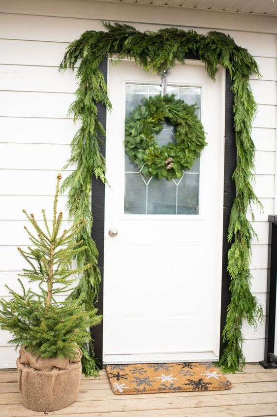 Christmas Door Decoration with Greenery