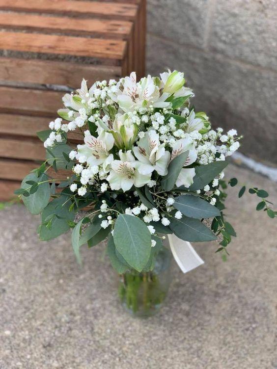 White Alstroemeria Winter Bouquet