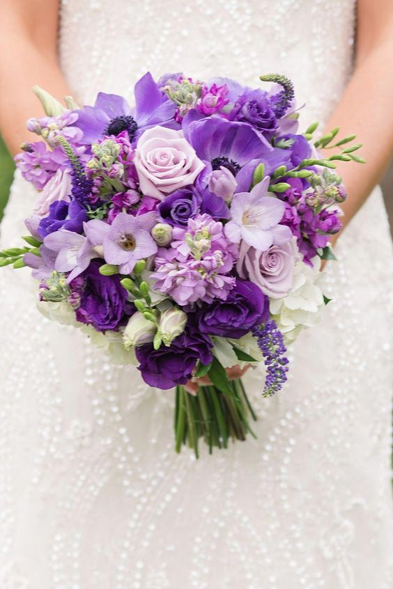 Purple Color Bouquet for Fall Wedding
