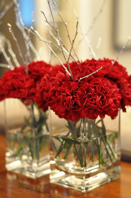 Red Carnation Table Arrangements
