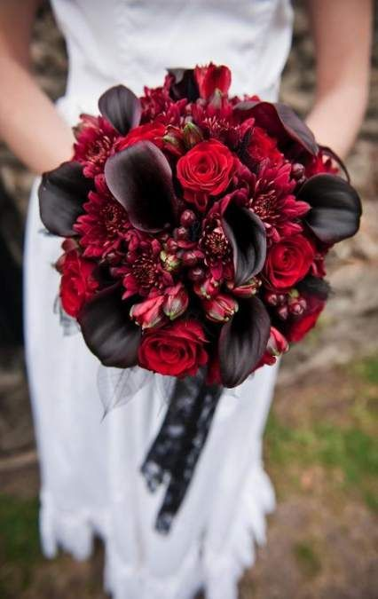 Red color Fall Weddings Bouquet