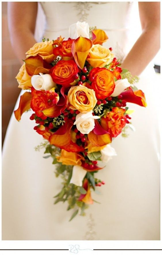 Orange Fall Wedding Bouquet
