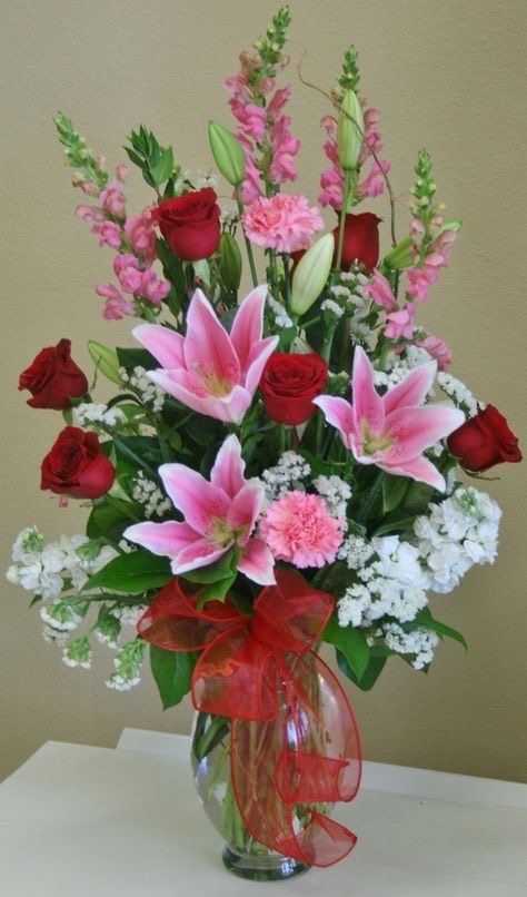 Valentine's Day Flower Arrangements with Roses and Lilies