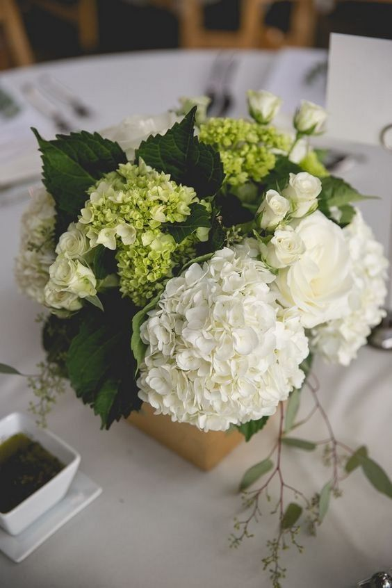 Hydrangea wedding table centerpieces