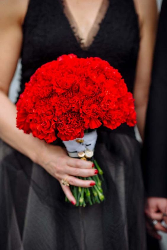red carnation wedding bouquet