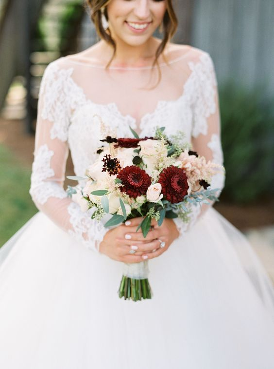 Burgundy Gerrondo in bridal bouquet