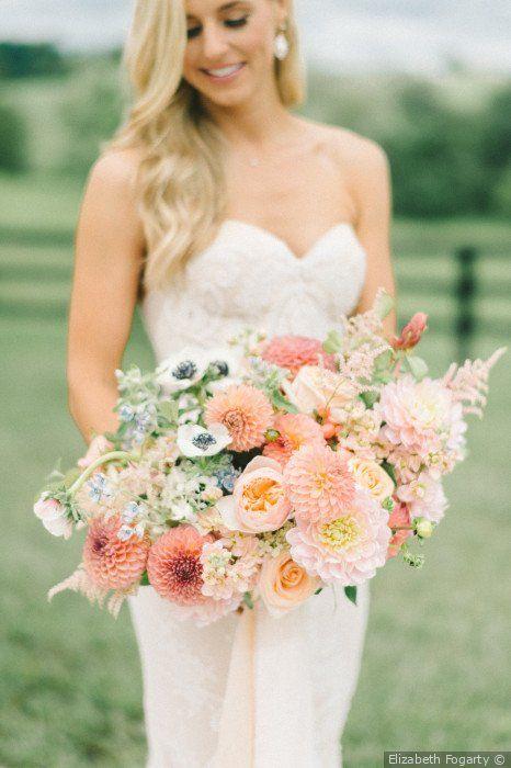 summer wedding bouquet with dahlias, anemones, garden roses, eucalyptus