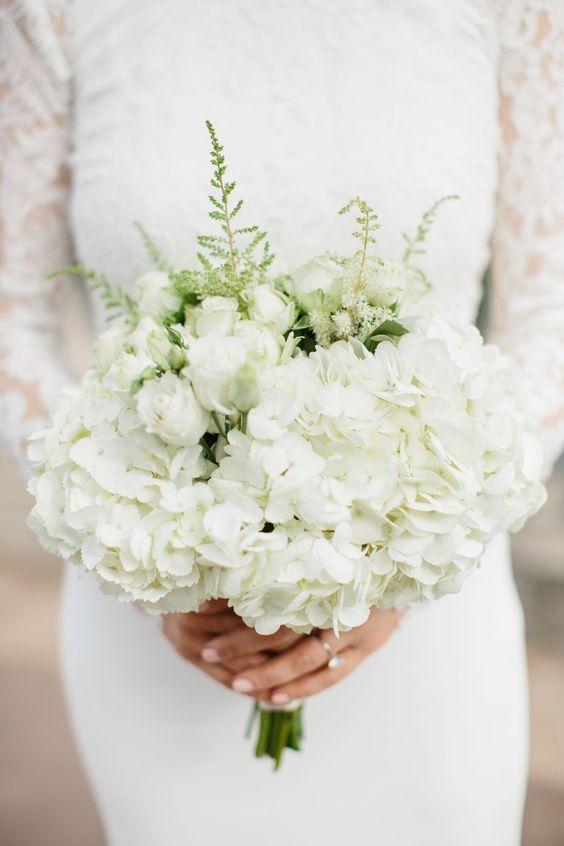 white hydrangea wedding bouquets